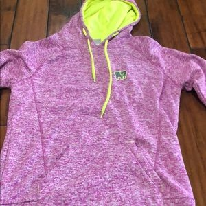 ivory ella fleece sweatshirt w neon green accents